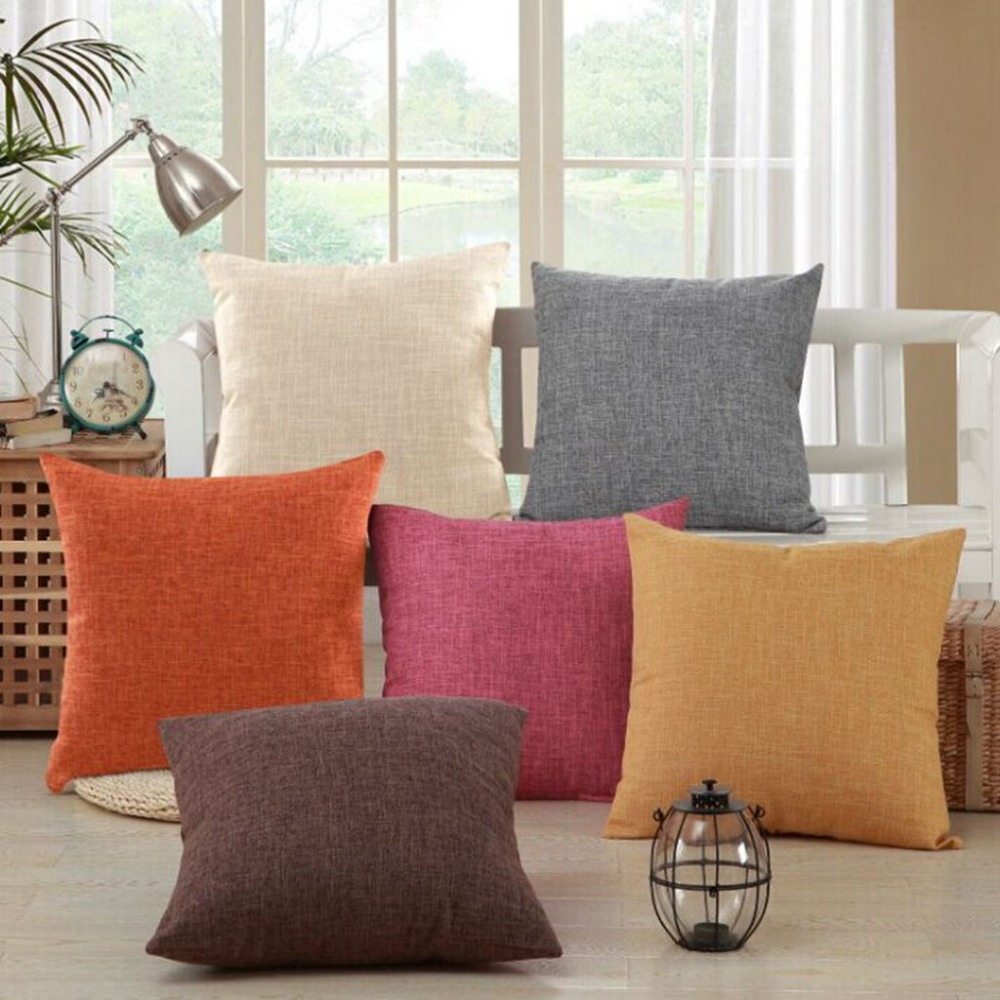 solid yellow red white grey cushion covers nordic modern decorative pillow covers cotton linen chair seat