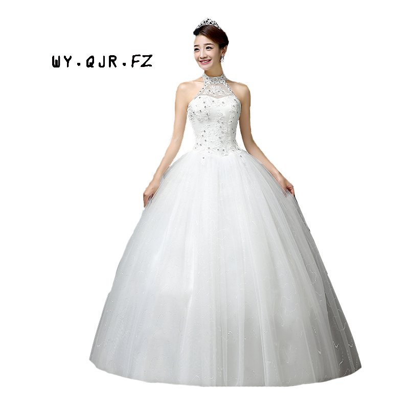 LYG-H63#Manufacturers selling new Korean Halter Bride\'s wedding dress Lace  Up plus size Floor-Length white cheap wholesale Custo