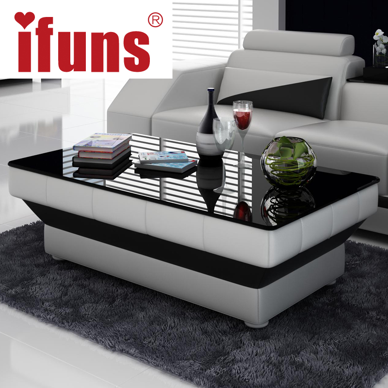IFUNS New Design Special Coffee Table Tea For Living Room Furniture Leather Glass Panel Wooden Leg Black Brown White 5 Color