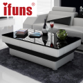IFUNS new design special coffee table tea for living room furniture leather & glass panel wooden leg black brown white 5 color