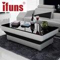 Ifuns novo design especial de chá mesa de café para sala de estar mobiliário couro & painel de vidro perna marrom preto branco 5 cor de madeira