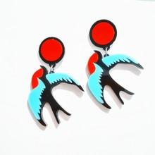 Панк акриловые птица серьги для женщин мода хип-хоп клуб аксессуары и украшения