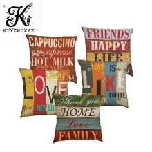 Vintage Style Decorative Throw Pillow Cover Case Coffee Office Retro English Letter Seat Waist Cushion 45X45CM
