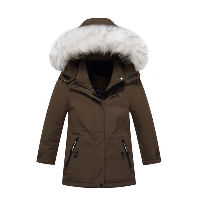 Niños Chaquetas de Invierno Niños Niñas Traje Del Pato Parka Abajo Cubren Grueso traje para la Nieve Caliente Con Cuello de Piel Outwear Niño DQ094