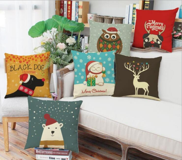 Christmas New Year presents Cute animals linen pillow cushions, home sofa backrest Cushion cover ...