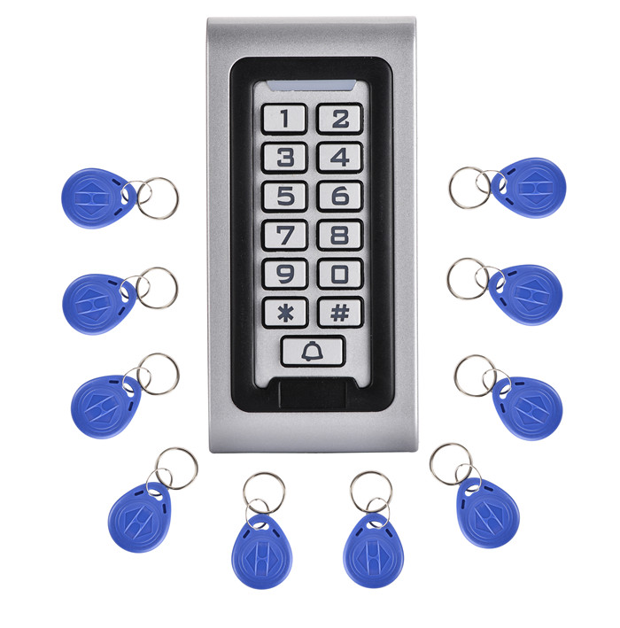125 Khz Em Karte Und 2000 Passwort Bule Hintergrundbeleuchtung Metall Wasserdicht Rfid Access Control Tastatur Mit Kartenleser + 10 Stücke Schlüsselkarte