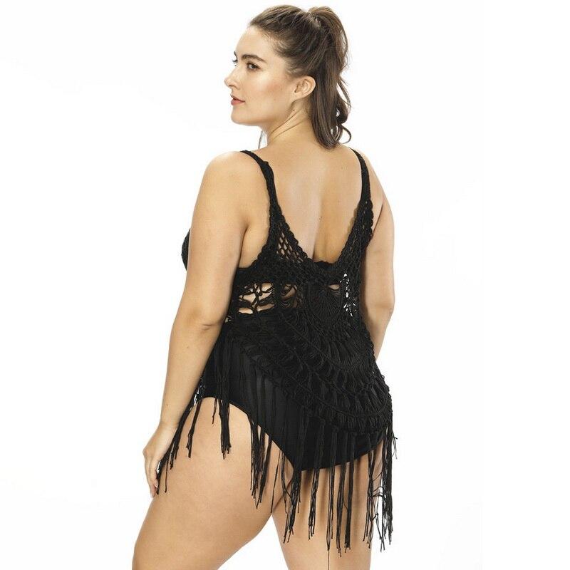 Vertvie Women Sexy Cover Up Hollow Out Beach Cover-up Crochet Bikini Tassels Bathing Suit Swimwear Dress Swimsuit Vestido 2018