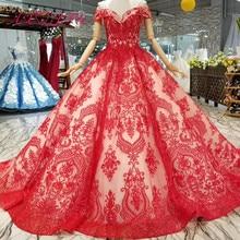 AXJFU Princess beading red lace flower wedding dress
