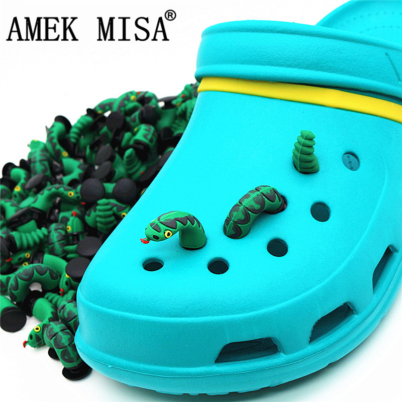 3Pcs A Set Shoe Decorations Novelty Cute PVC Animal 3D Snake Garden Shoes Accessories Croc Charm Ornaments For Kids Gift 3D-JM03