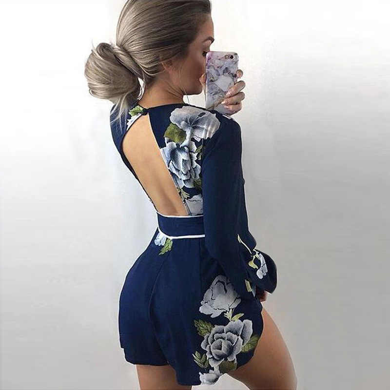 Combishort Lange mouw Rompertjes Zomer Vrouwen Jumpsuit Bloemen Printing v-hals backless Sexy Bodysuit macacao Femme Ete wz *