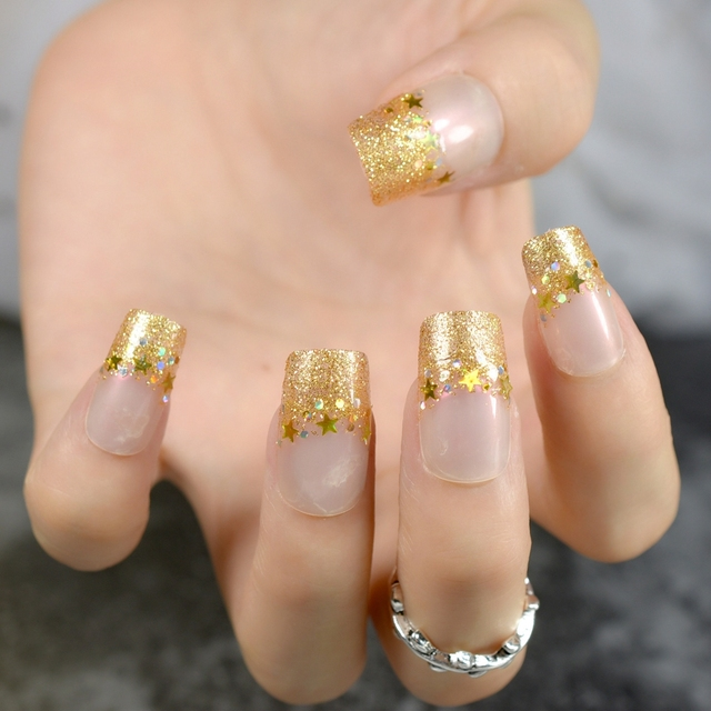Sparkly French Nails Golden Glitter Decoration Medium Acrylic Matte False Nail Art Tips Lady Daily Wear