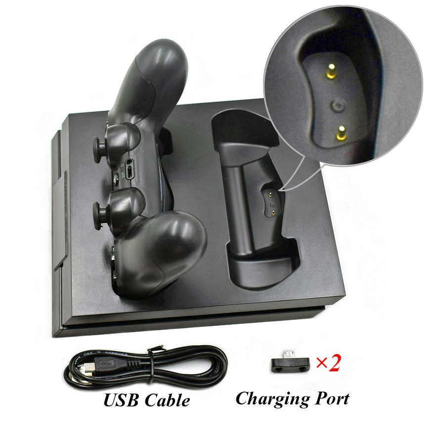 PS4 Slim Pro Wireless Joystick Charger Dual LED Cepat Pengisian Dock Station untuk Sony PlayStation 4 Slim Pro Controller