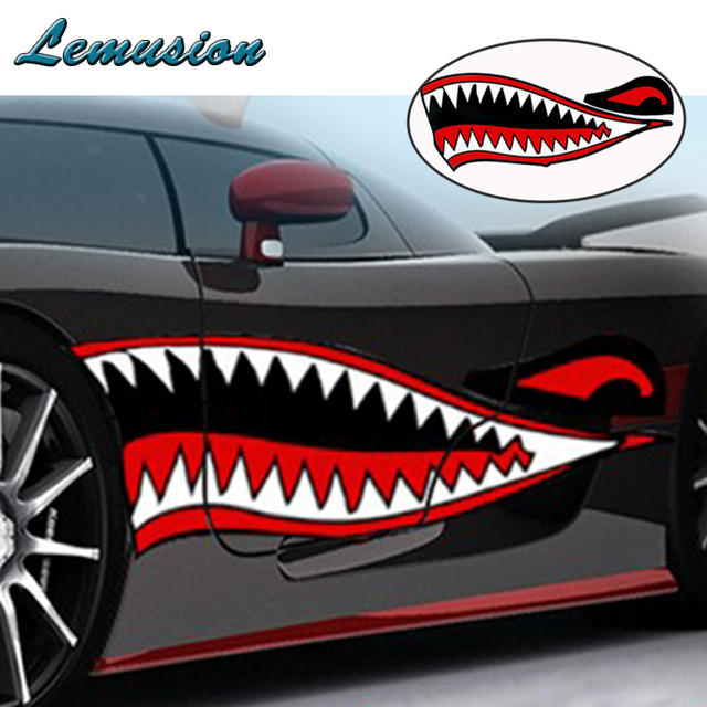 Good Car Styling 1Pcs Car Stickers Car Body Shark Mouth Waterproof Sticker For  Mini Cooper Chevrolet