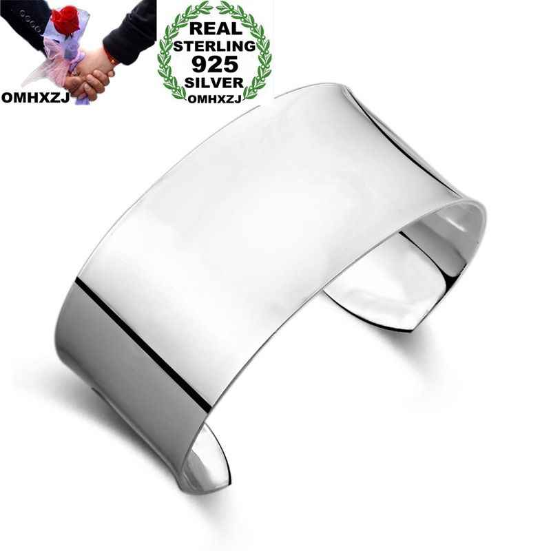 OMHXZJ Wholesale Personality Fashion OL Woman Girl Gift Silver Simple Blank Wide 925 Sterling Silver Cuff Bangle Bracelet BR142