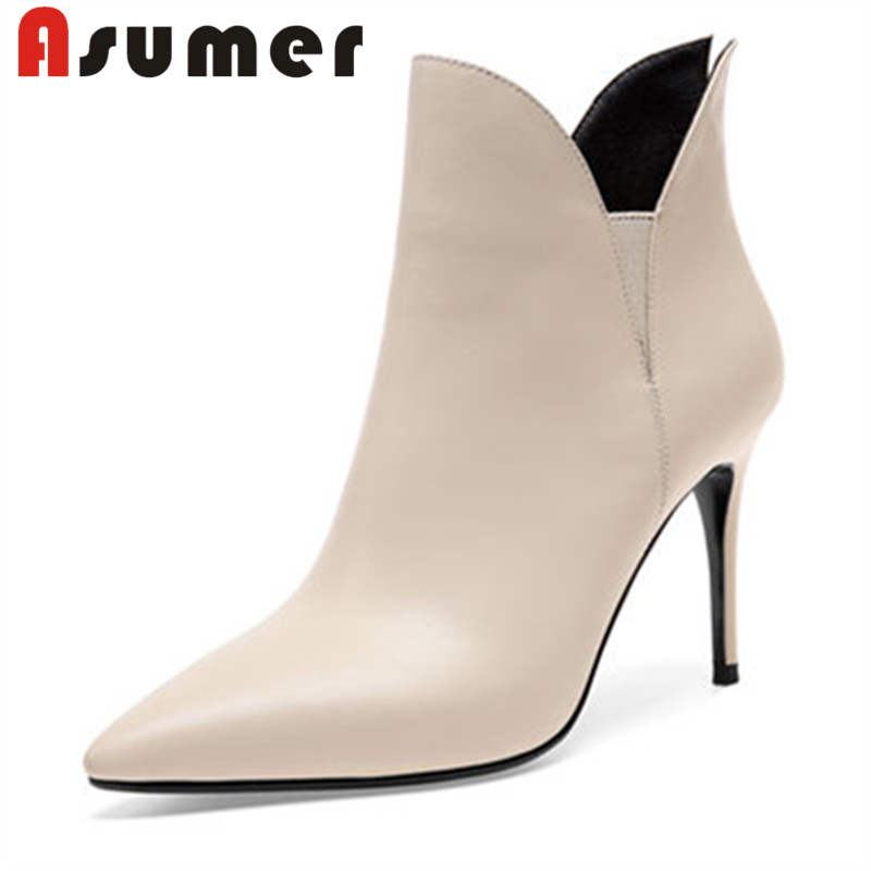 ASUMER Ankle-Boots Heels Pointed-Toe Adult Genuine-Leather Women Solid Zip for Sexy Classic