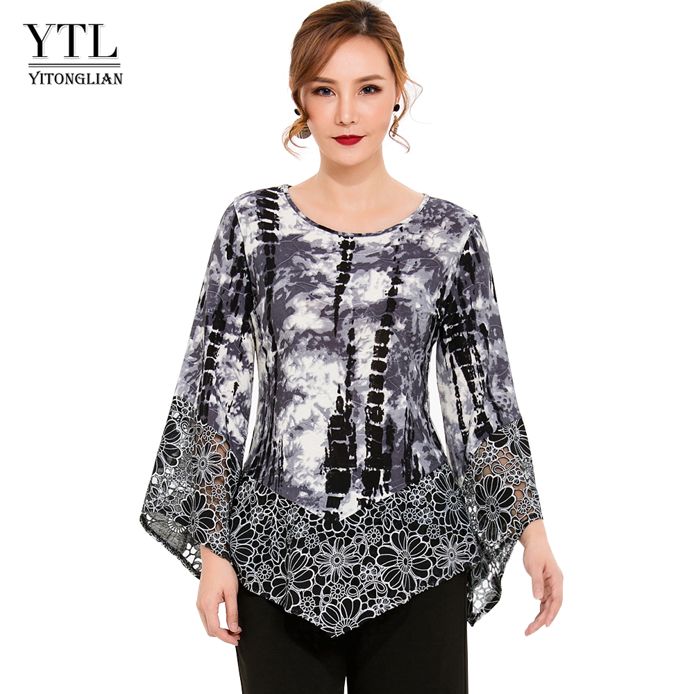 Women Fashion Autumn Three Quarter Sleeve T-shirt Lace Hollow Out Decoration Tied Dyed Jersey Top Office Lady Casual Style H213