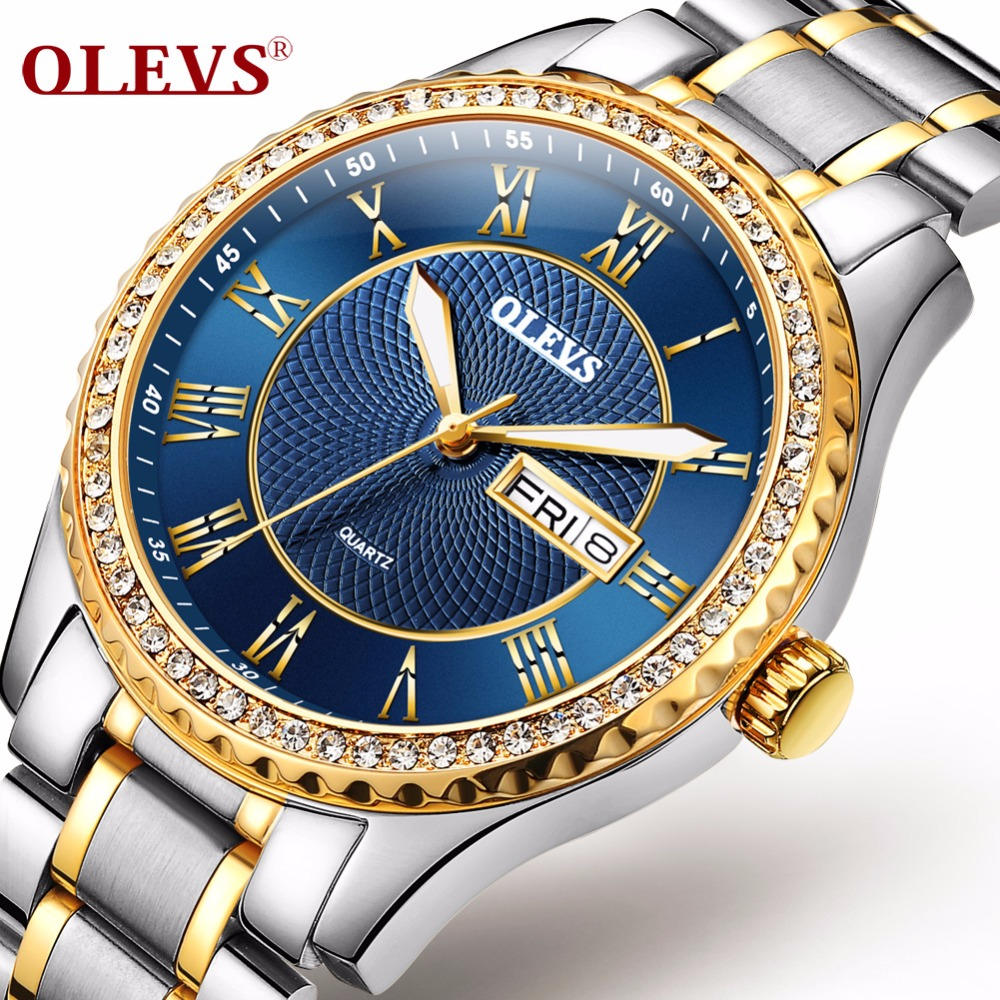OLEVS Luminous Hands Diamond Men Watches Luxury Gold Case Steel Bracelet Band Date and Day Male Clock Business Wristwatches 6899 olevs luminous hands women men quartz watch luxury gold case leather ladies wristwatches steel belt couple lovers watches clock