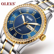 OLEVS Luminous Hands Diamond Men Watches Luxury Gold Case Steel Bracelet Band Date and Day Male Clock Business Wristwatches 6899 olevs charm men business watches luminous hands clock watch day and date stainless steel bracelet waterproof wristwatch for man