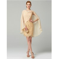 LAN TING BRIDE Sheath / Column V Neck Short / Mini All Over Lace Mother of the Bride Dress with Appliques Pleats
