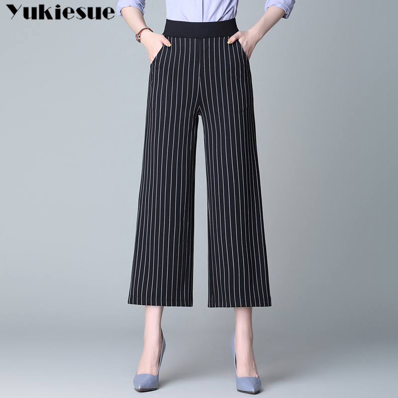 Wide     leg     pants   for women striped printed OL office workwear women's   pants   capris high waist female trousers laides plus size