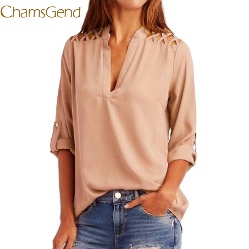 Women's Clothing Durable 2017 New Arrival 1pc Vintage Blouse Women Chiffon Solid Tab-sleeve Hollow Out Blouse Shirt Tops Blouse B15 A#487 Soft And Antislippery