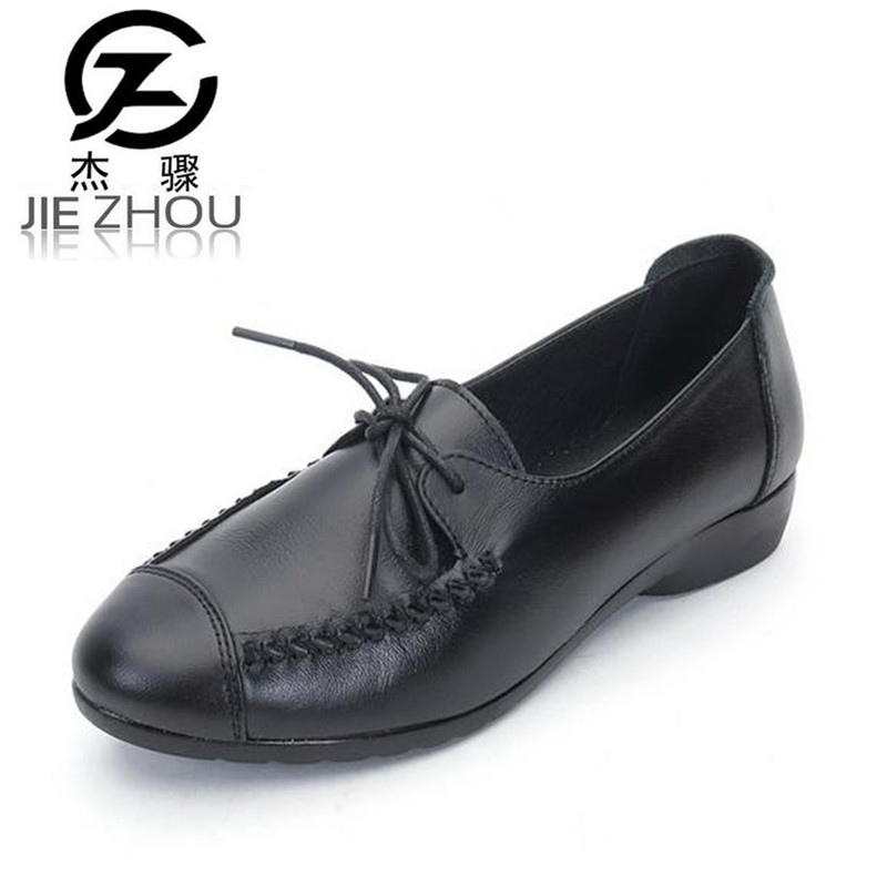 fashion Genuine Leather Flats Women Shoes non-slip flat-end Black casual shoes Large size lace-up mom shoes obuv genuine leather mom shoes retro flowers soft bottom flats shallow mouth women shoes comfortable large size elderly shoes obuv