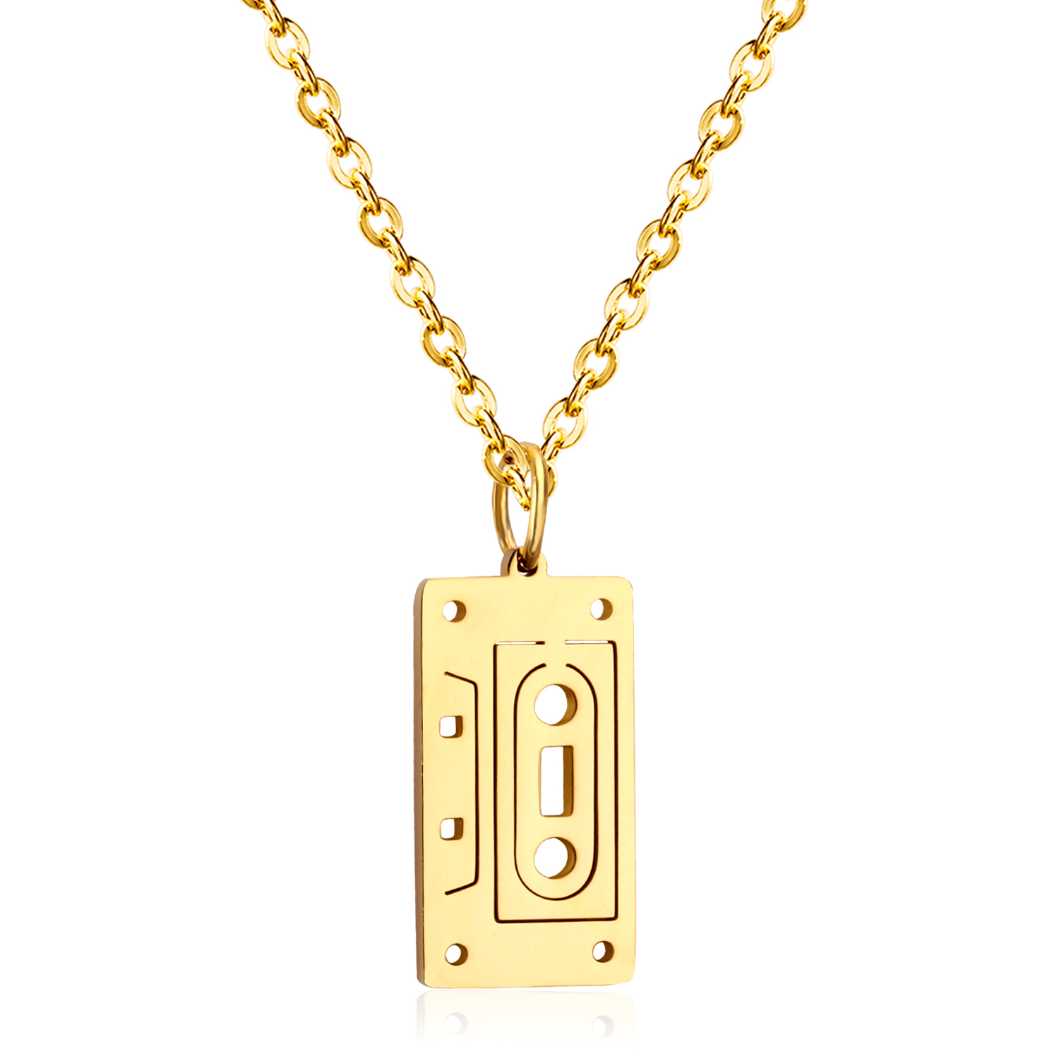 LUXUSTEEL Vintage Style Geometry Door Pendants & Necklaces Stainless Steel Gold Color Chain Necklace For Women/Men Jewelry