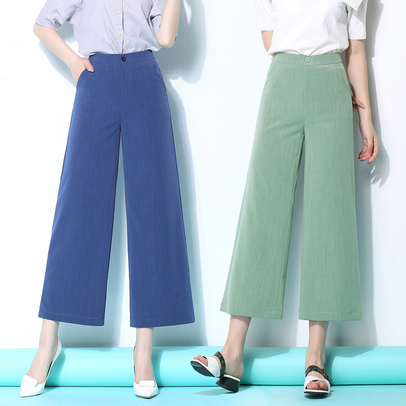 Summer Spring Casual Womens High Waist Wide Leg White Black Grey Blue Linen Ankle Length Pants , Women Female Red Grey Trousers