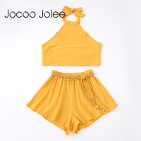 Jocoo Jolee Sexy Back Lace Up Women Romper Suit Beach 2 Piece Set Clothing Solid Top