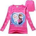2-7 anos 100% algodão crianças tops moda anna elsa longo Meninas Camiseta manga Crianças Roupas Camisetas Camiseta Baby Girl roupas