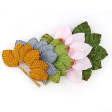1Bunch About 10pcs Artificial Flowers Simulation Rose Leaf Gold Leaves Fake Silk Flower Floral Decoration Leaf Home leaf floral artificial gem oval rhinestone brooch