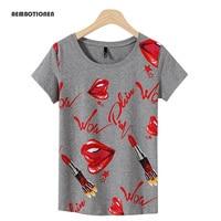 Plus Size 3XL Women 2017 Summer Short Sleeve Diamonds Red Lip Print T Shirts Fashion Slim