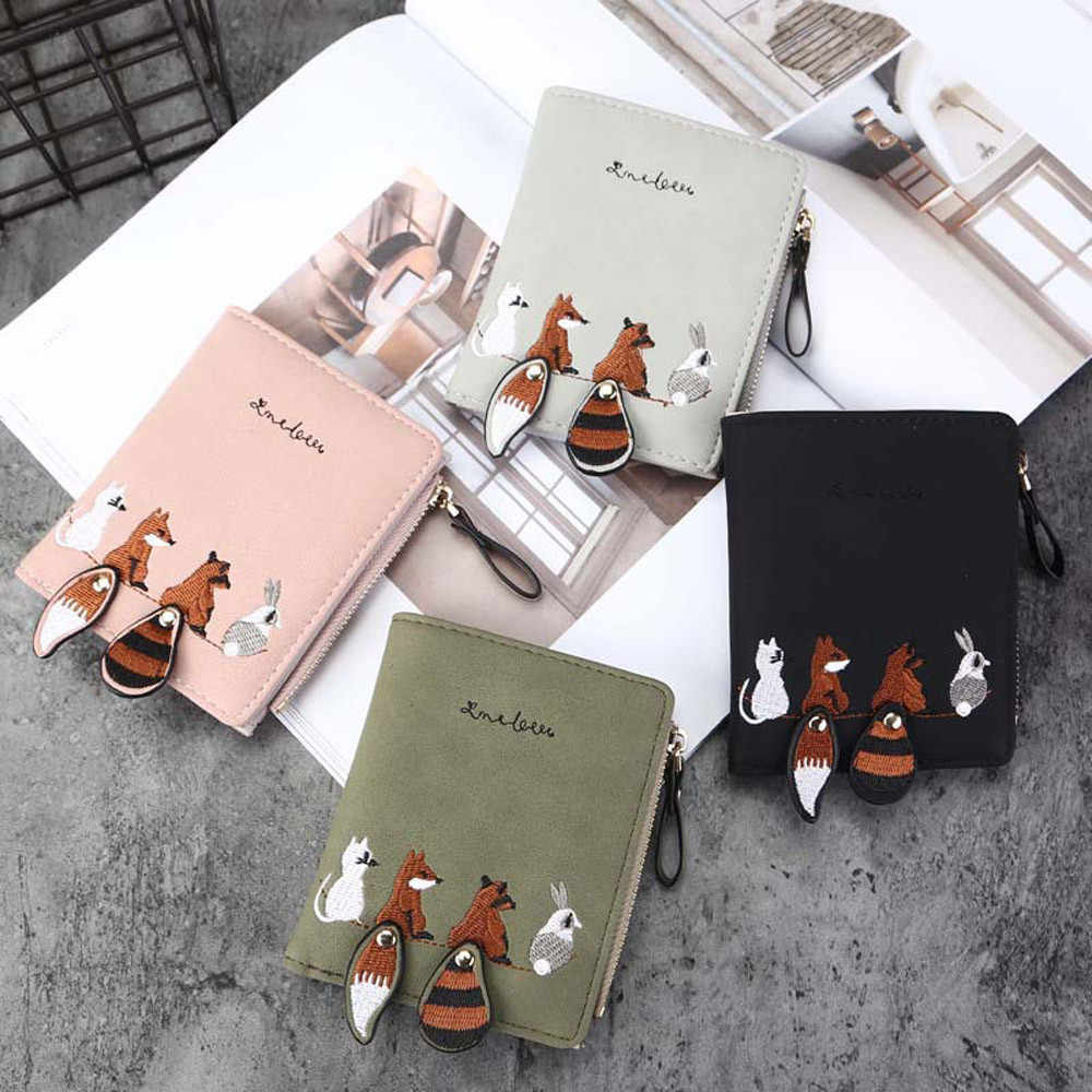 Fashion Women Wallet Lovely Cartoon Animals Small Coin Zipper Purse Card Package short cute clutch leather wallet  money bag