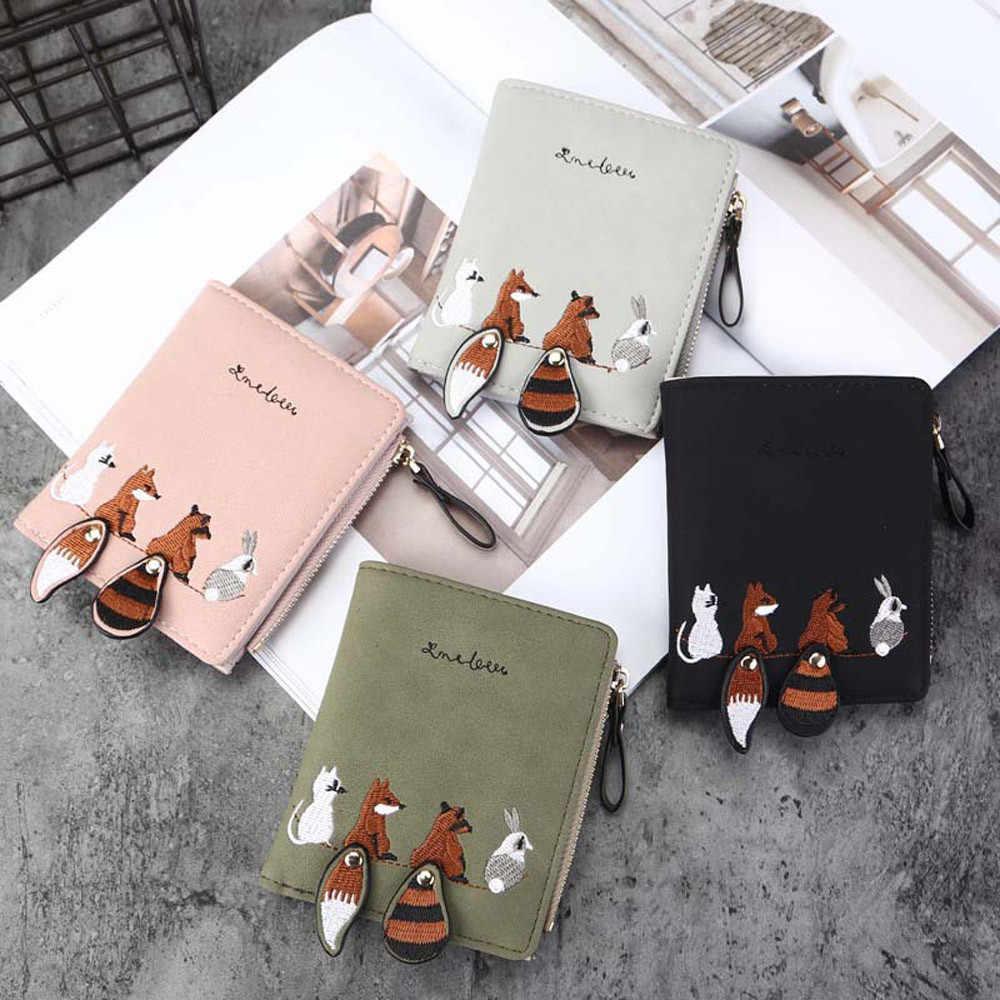 Cartera de moda para mujer con animales de dibujos animados pequeños monedero con cremallera paquete de tarjetas Cartera de cuero Lindo bolso de dinero