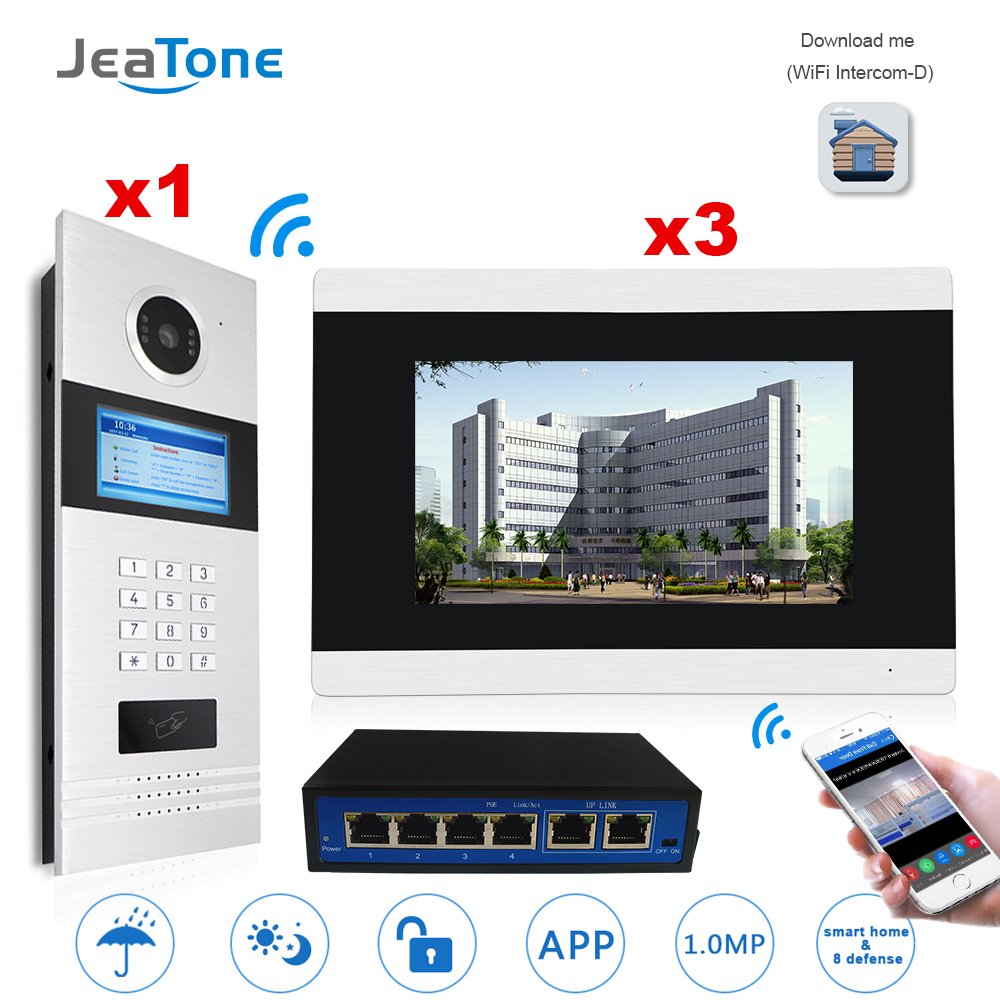 7'' Touch Screen WIFI Video Door Phone IP Video Intercom for Building Access Control System Support Password/IC Card with Switch 7 inch password id card video door phone home access control system wired video intercome door bell