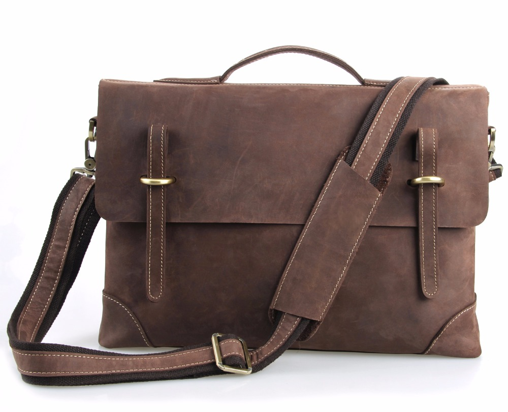 Augus Vintage Crossbody Bags Leather For Men Guaranteed Genuine Leather Casual Business Leather Mens Messenger Bag 7228R augus 100% genuine leather laptop bag fashional and classic crossbody bags leather for men large capacity leather bag 7185a