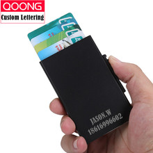 QOONG Automatic Pop Up ID Credit Card Holder Hand Push Men Women Business Safe Aluminum Antimagnetic Purse Case KH1-031