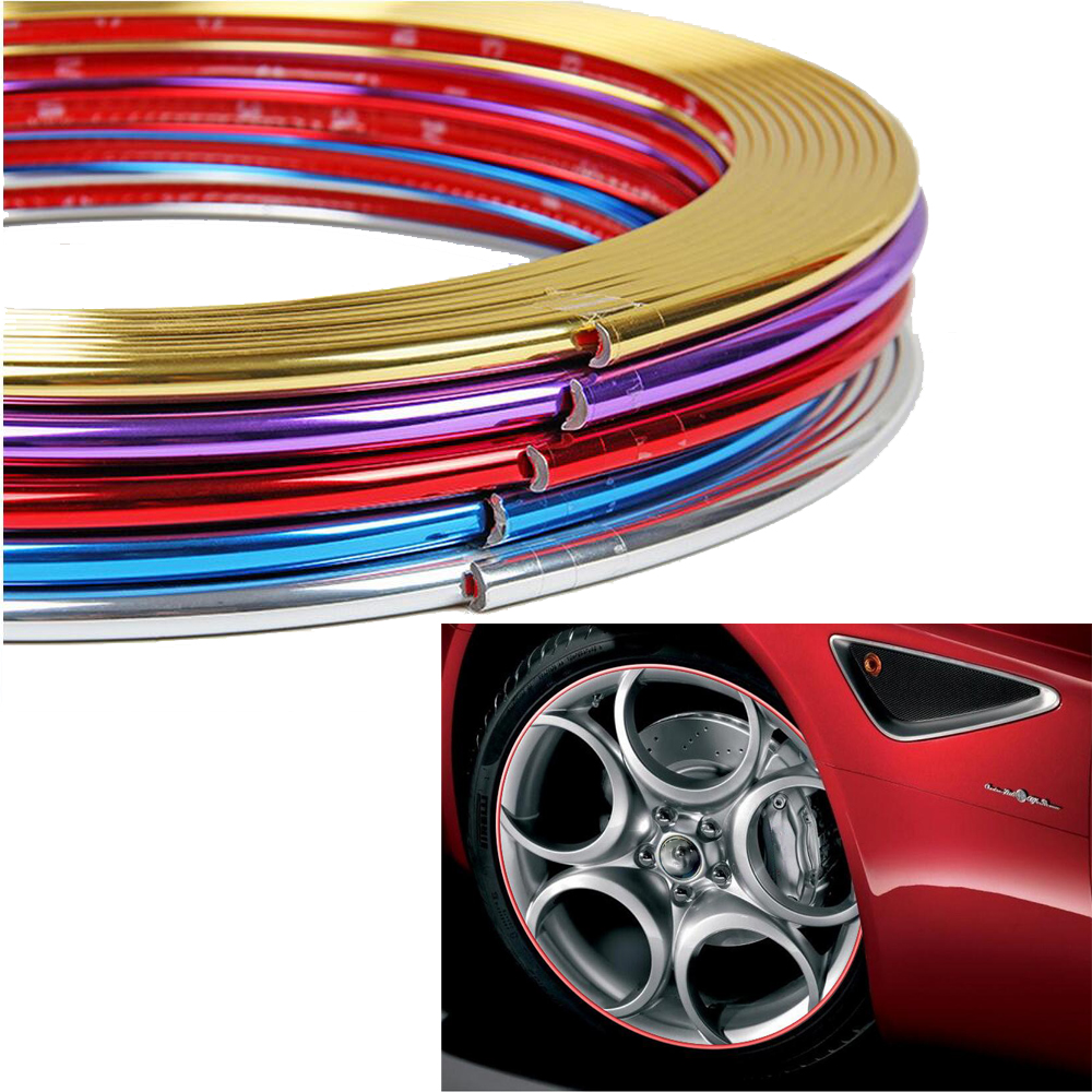 PVC Strip Wheel Rim Tire Protection Sticker Universal Car Decorative Styling For FORD FOCUS 2 3 for honda fit civic