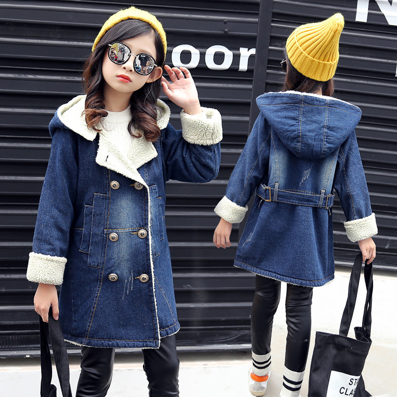2018 Fall Winter Girls Cashmere Long Denim Trench Coat Kid Double-Breasted Fur Hoodies Jacket Children Warm Clothing Outerwear 2018 new mens long trench winter coat lapel fur collar sabretudo thicken warm wool coat slim fit double breasted homme overcoat