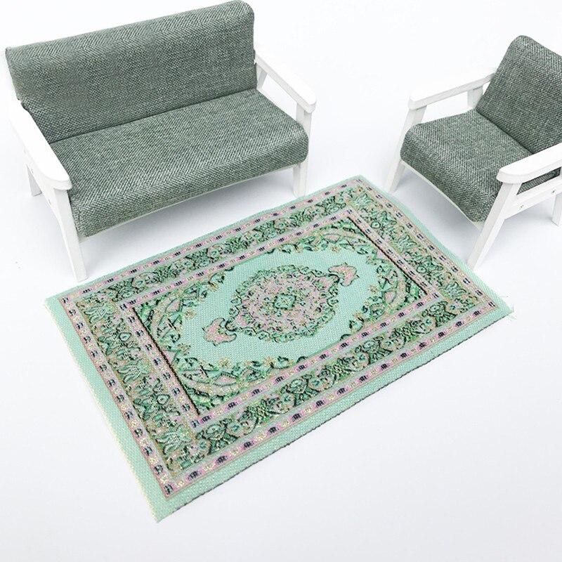 1//12 Maison de poupées tapis de style turc tapis, tapis tapis bleu