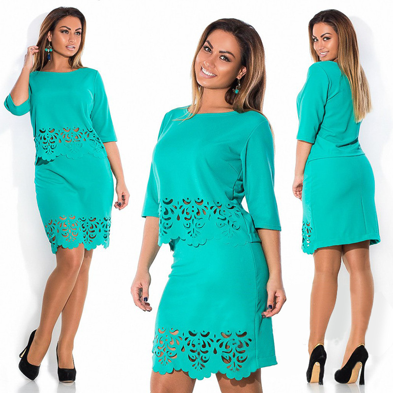 74dd7d3461c5 Plus Size Half Sleeve Tops and Skirts Set 4XL 5XL 6XL Hollow Out Loose  Office Wear Formal Clothing Women Crop Top Skirt 2 Pieces