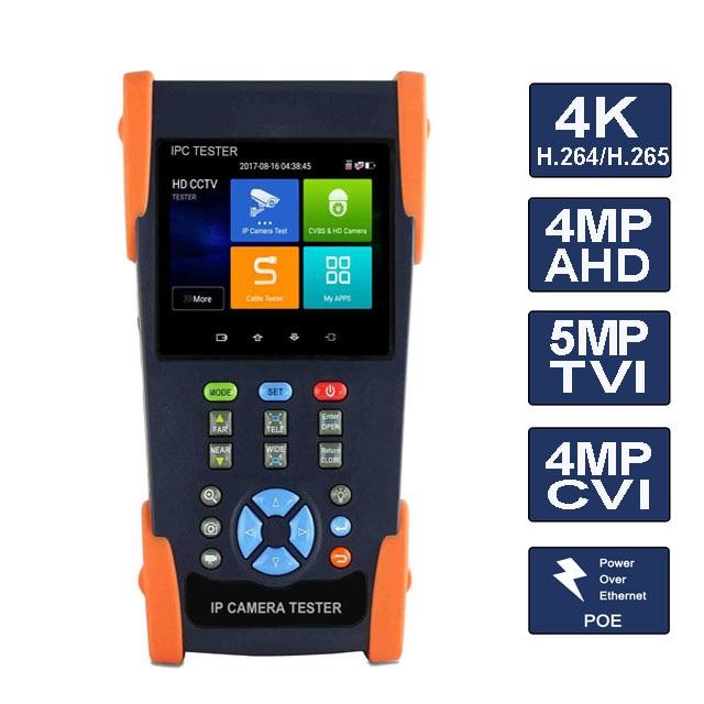 Testeur de caméra analogique 3.5 pouces testeur de caméra analogique testeur de sécurité CCTV avec RJ45 TDR POE 4 K H.265 ONVIF POE