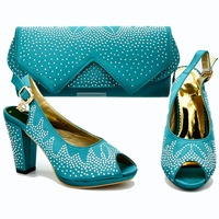 Teal green african aso ebi party high heel with size 37 to 42 shoes bag to match lady african aso ebi shoes and bag set SB8292 4