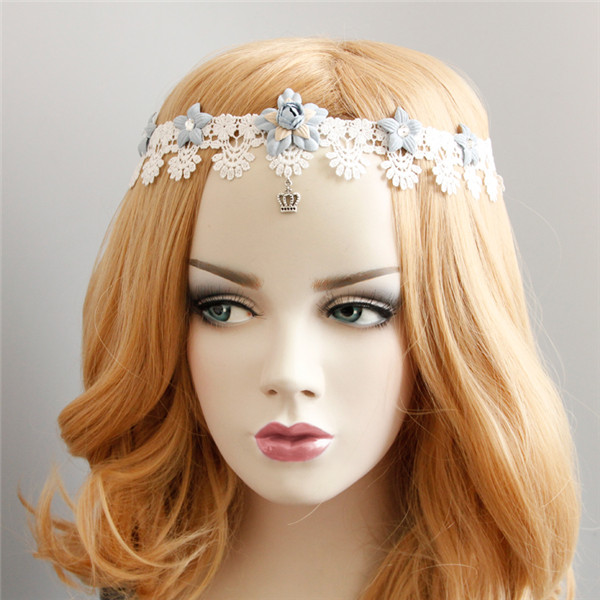 Lovely Style Lace hair band blue flowers ribbon garland retro style wild handmade headband Accessories