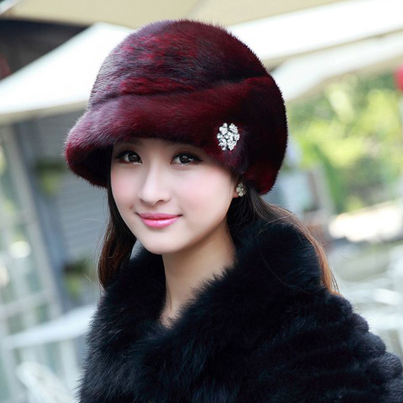 ФОТО  Fashion Winter Warm Russian Hat  Women's Cap Solid Various Raeal Brbbit Fur Hat For Ladys Female Causal Good Quality Caps H#61