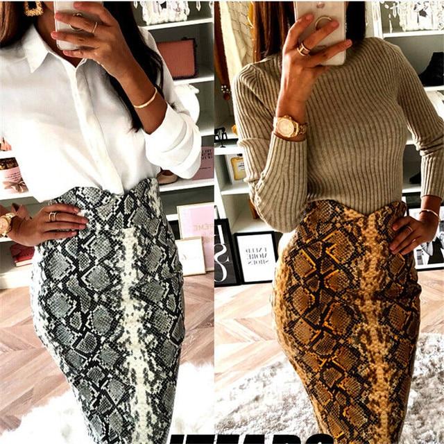 2019 Fashion Sexy Snake Print Midi Pencil Skirt Women High Elastic Waist Office Lady Bodycon Knee Length Skirts Saias Faldas Muj 10