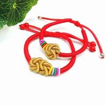 DIY Handmade Rainbow Red Rope Bracelet Women Men Braided Chain Kids Braclets Lucky Knitted Children Jewelry