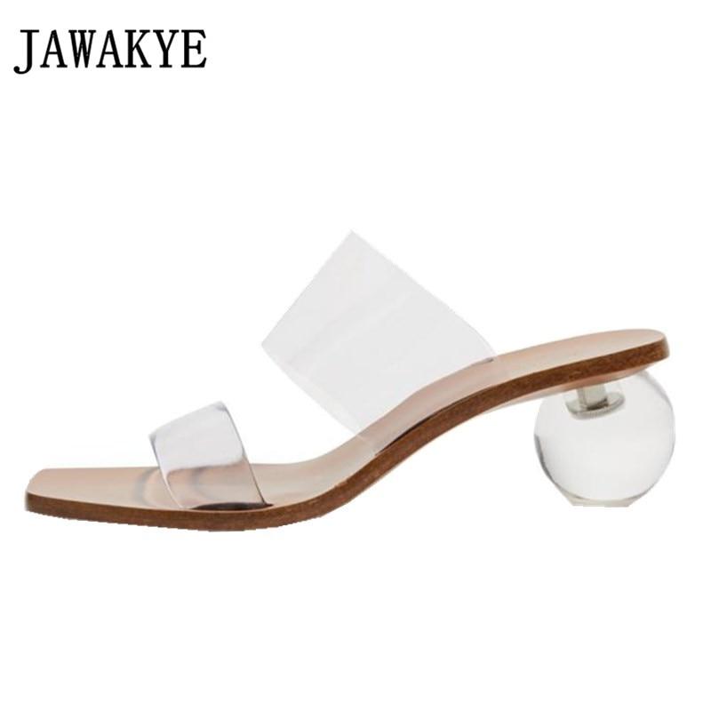 JAWAKYE crystal ball heel slippers women clear PVC peep toe summer sandals fashion new runway design