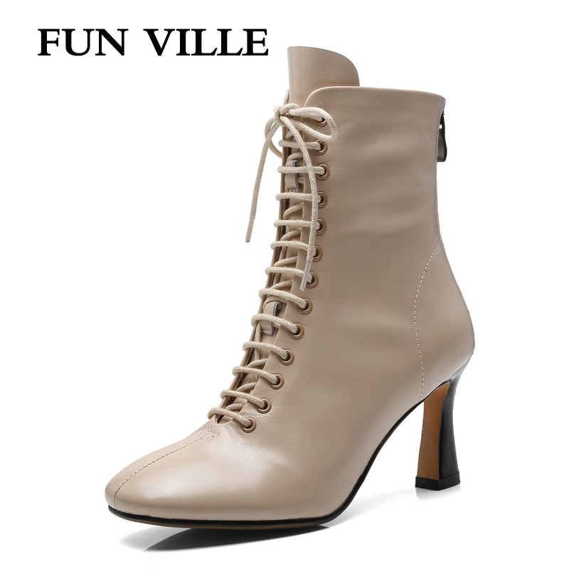 FUN VILLE New Fashion Women Ankle Boots Spring Autumn Boots for woman Genuine Leather High Heels Boots Square Toe Ladies shoes 2018 new fashion spring autumn genuine leather motorcycle boots shoes woman pointed toe ankle boots chunky mid heels women shoes