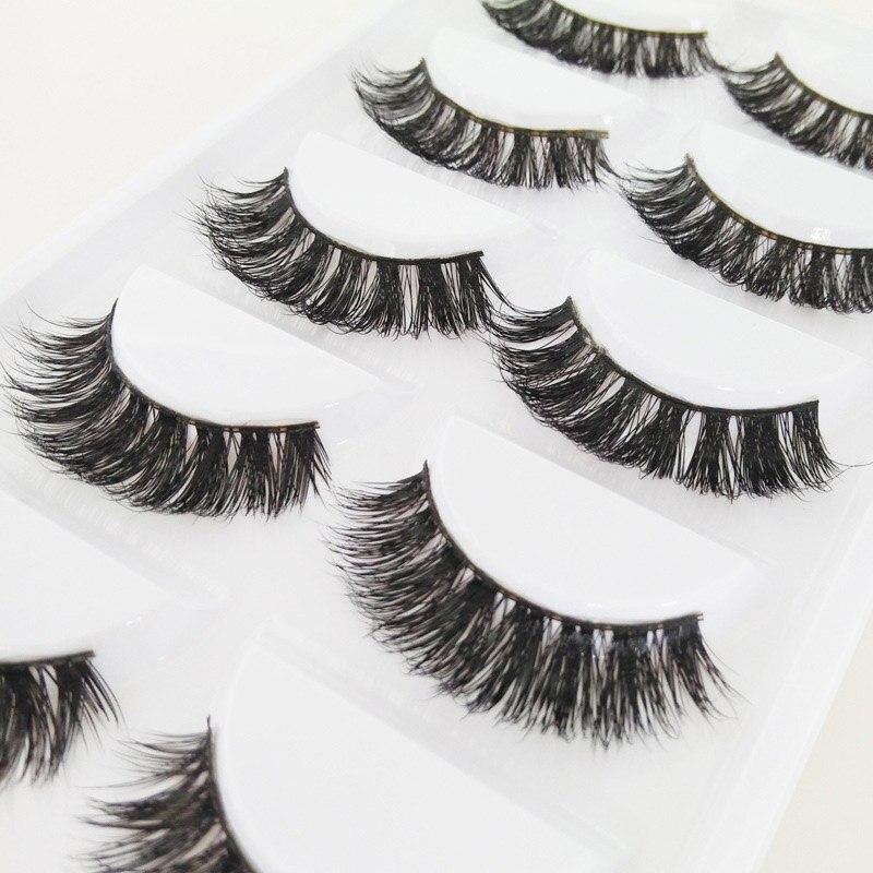 5 Pair 3D <font><b>Mink</b></font> Hair False Eyelashes <font><b>Mink</b></font> Hair Handmade Natural Eye Lashes <font><b>Nude</b></font> Makeup Extension Makeup For Lady Women FM88